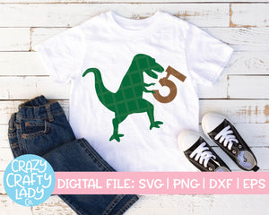 Dinosaur 5th Birthday SVG Cut File