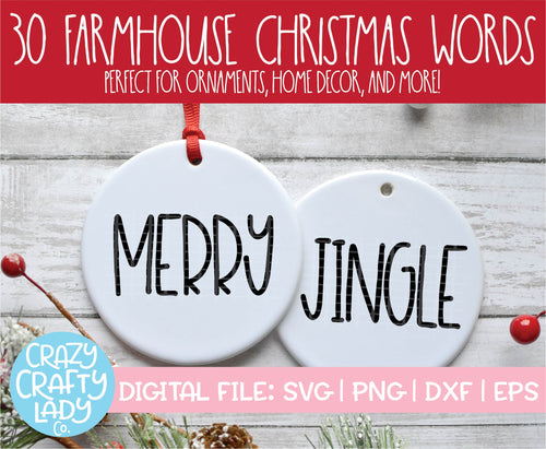 Farmhouse Christmas Word SVG Cut File Bundle