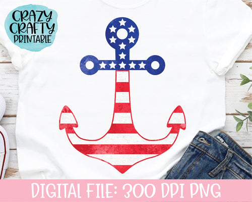 July 4th Anchor PNG Printable File