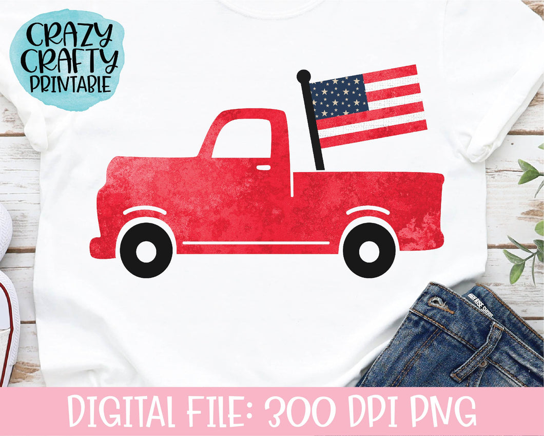 July 4th Truck PNG Printable File