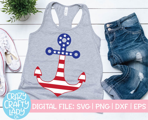 American Flag Anchor SVG Cut File