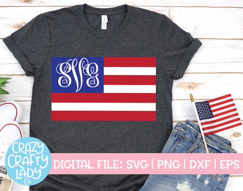 American Flag Monogram Frame SVG Cut File