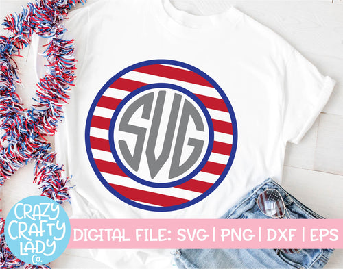 Patriotic Monogram Frame SVG Cut File