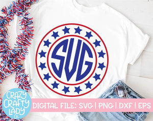 Patriotic Monogram Frame SVG Cut File Bundle