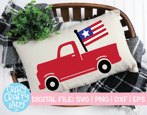 American Flag Truck SVG Cut File