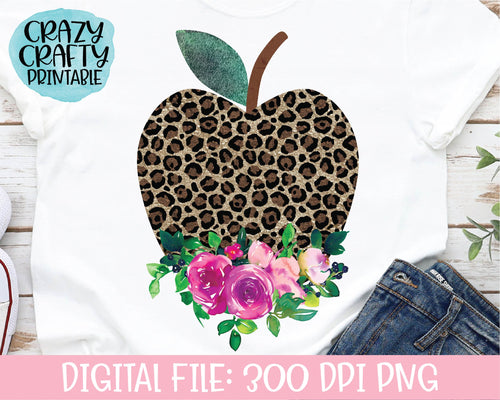 Floral Leopard Print Apple PNG Printable File