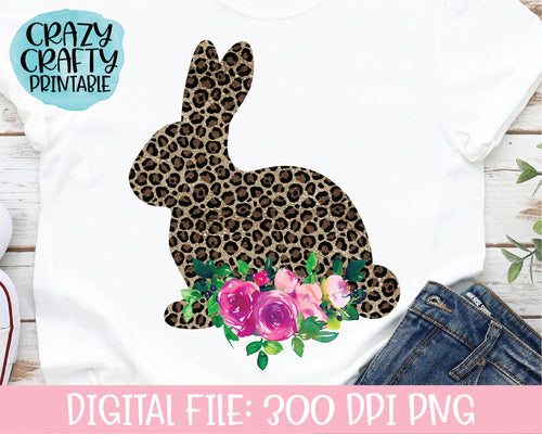 Floral Leopard Print Bunny PNG Printable File