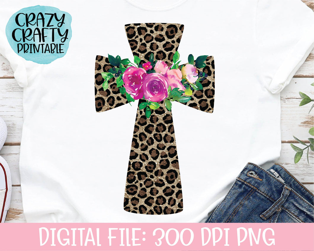 Floral Leopard Print Cross PNG Printable File