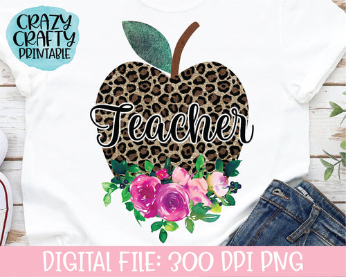 Floral Leopard Print Teacher Apple PNG Printable File
