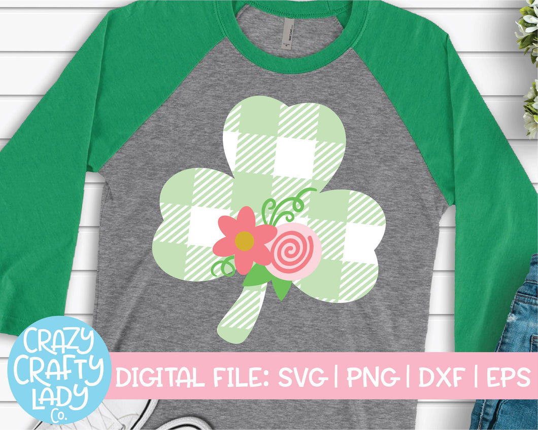 Floral Buffalo Plaid Clover SVG Cut File