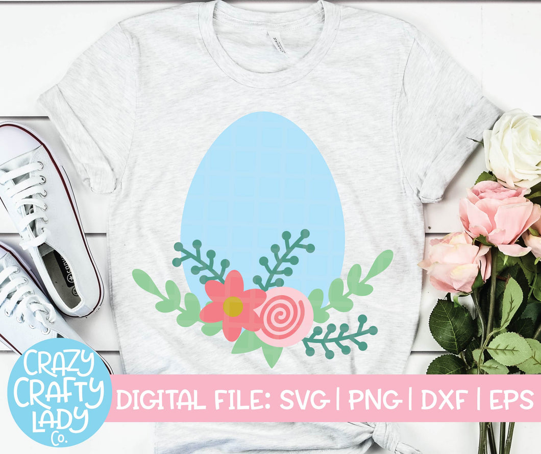 Floral Easter Egg SVG Cut File