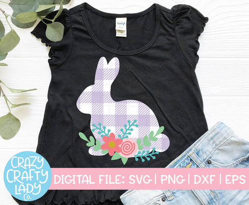Floral Gingham Bunny SVG Cut File