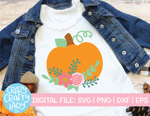 Floral Pumpkin SVG Cut File