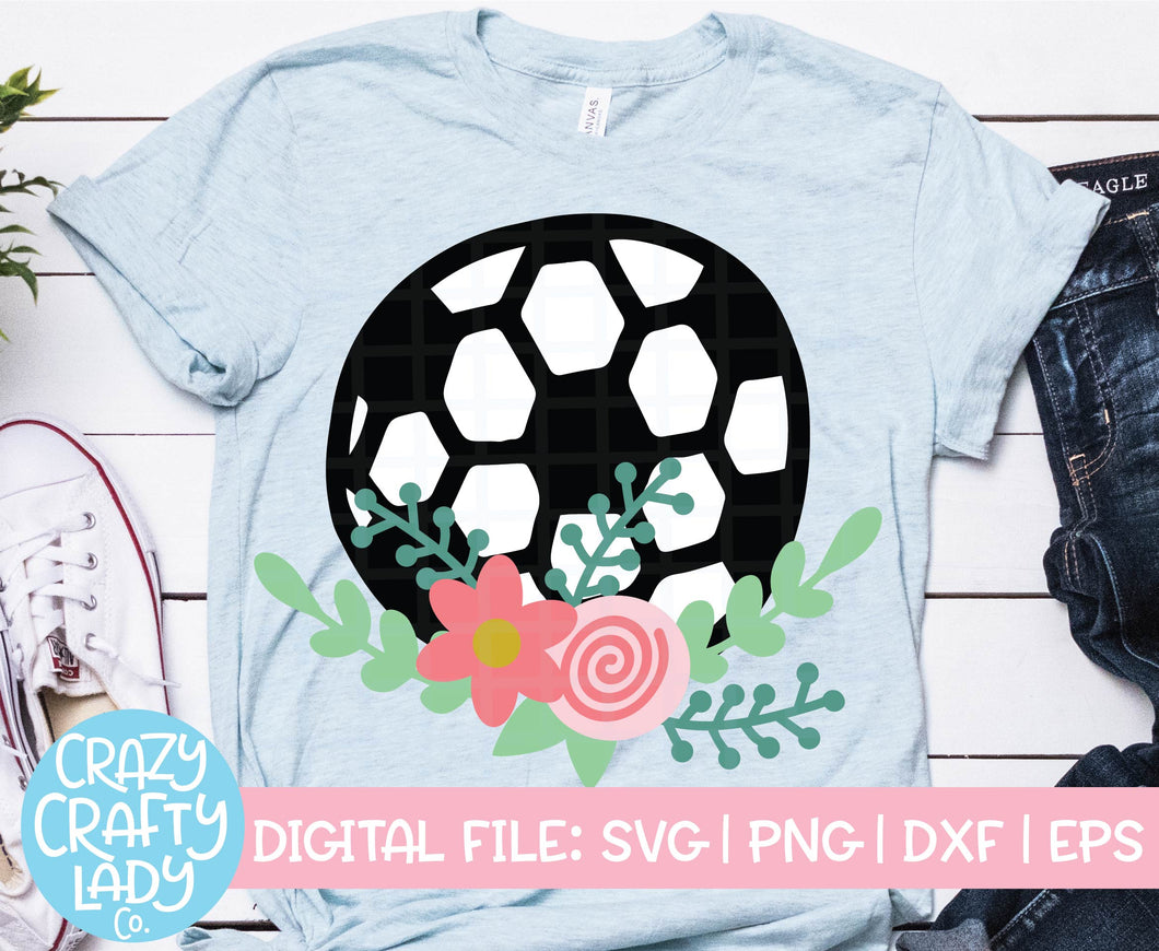 Floral Soccer Ball SVG Cut File