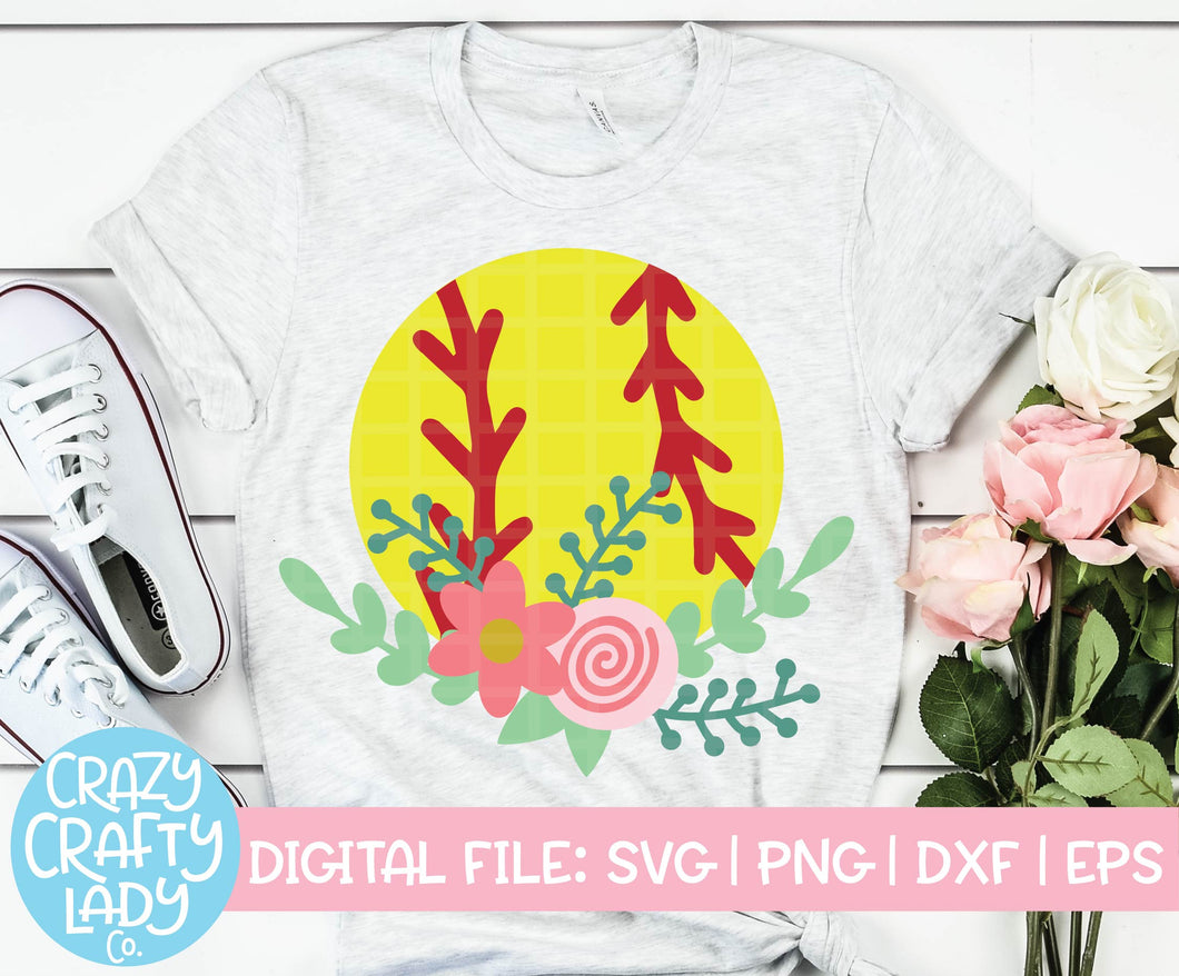 Floral Softball SVG Cut File