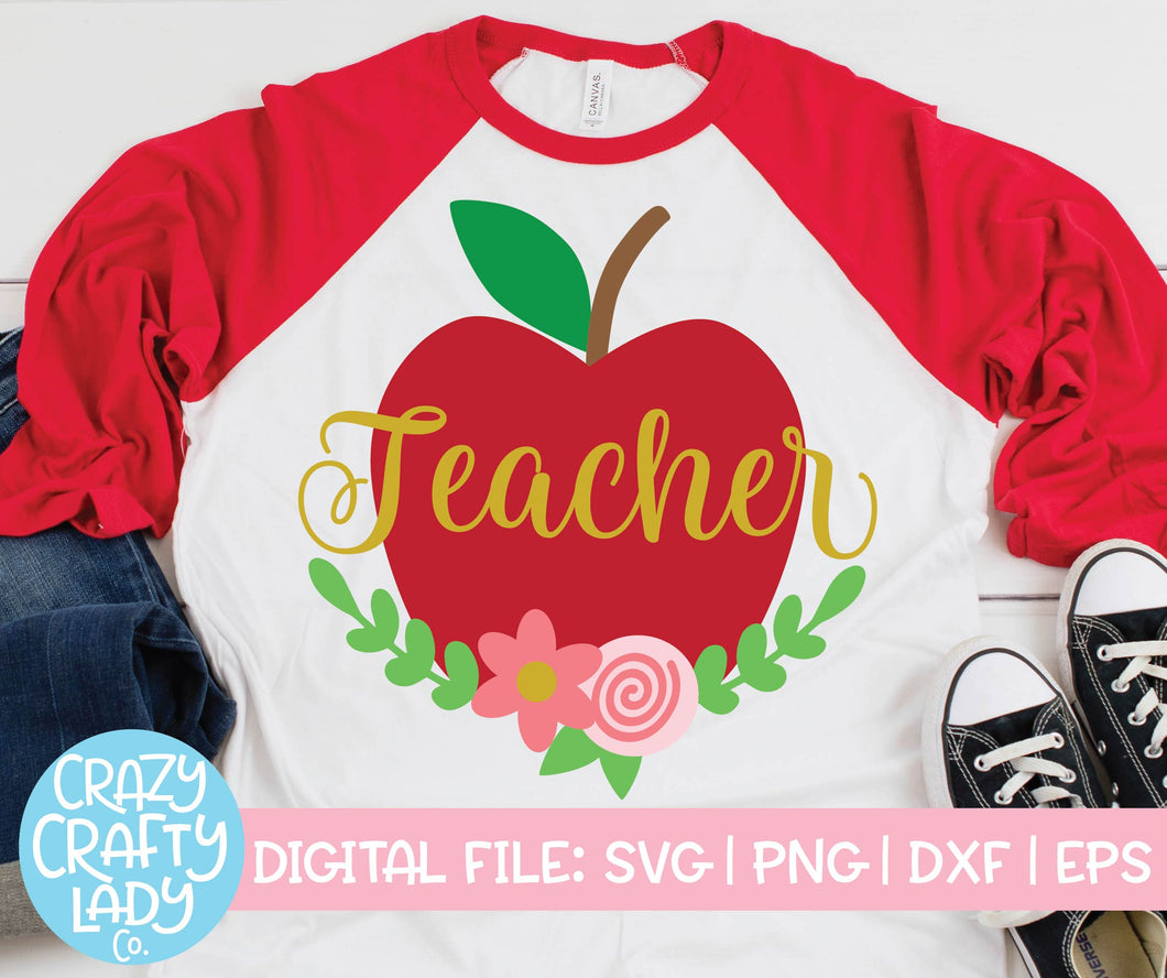 Floral Teacher Apple SVG Cut File