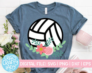 Floral Volleyball SVG Cut File