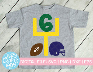 Football 6th Birthday SVG Cut File