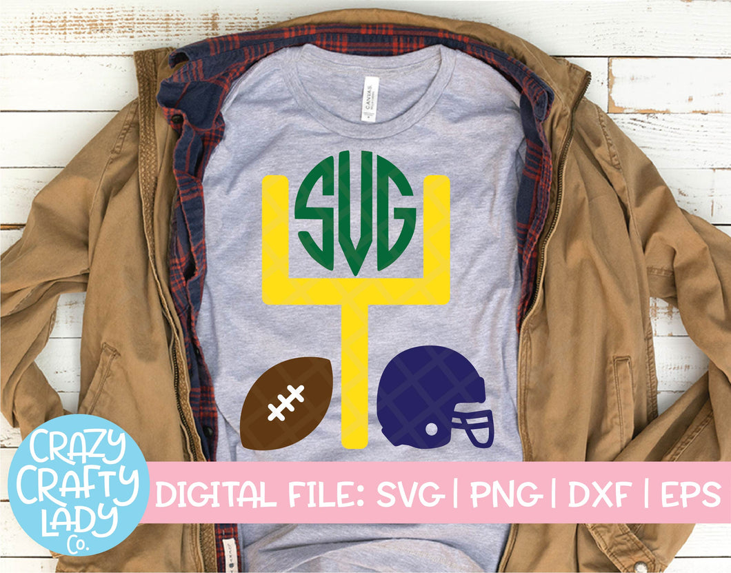 Football Monogram Frame SVG Cut File