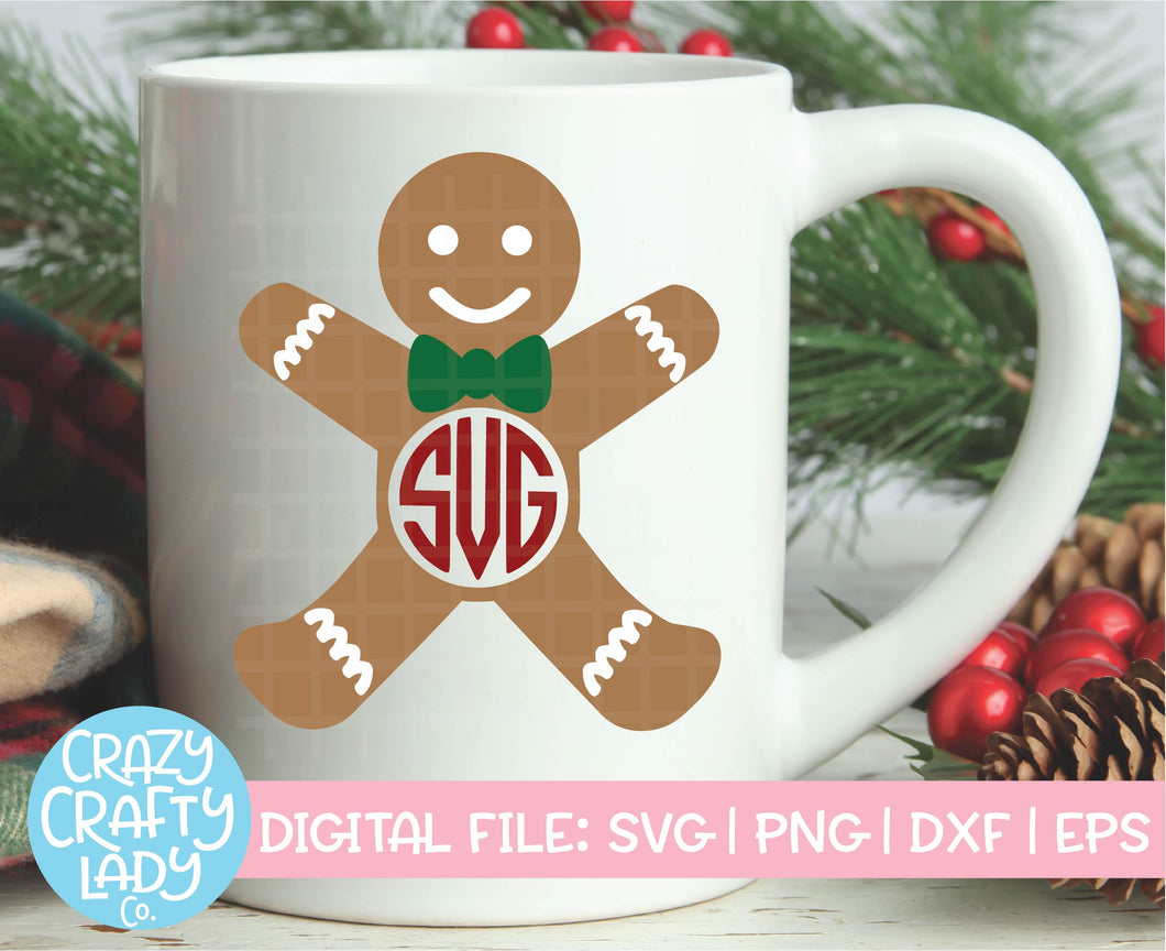 Gingerbread Man Monogram Frame SVG Cut File