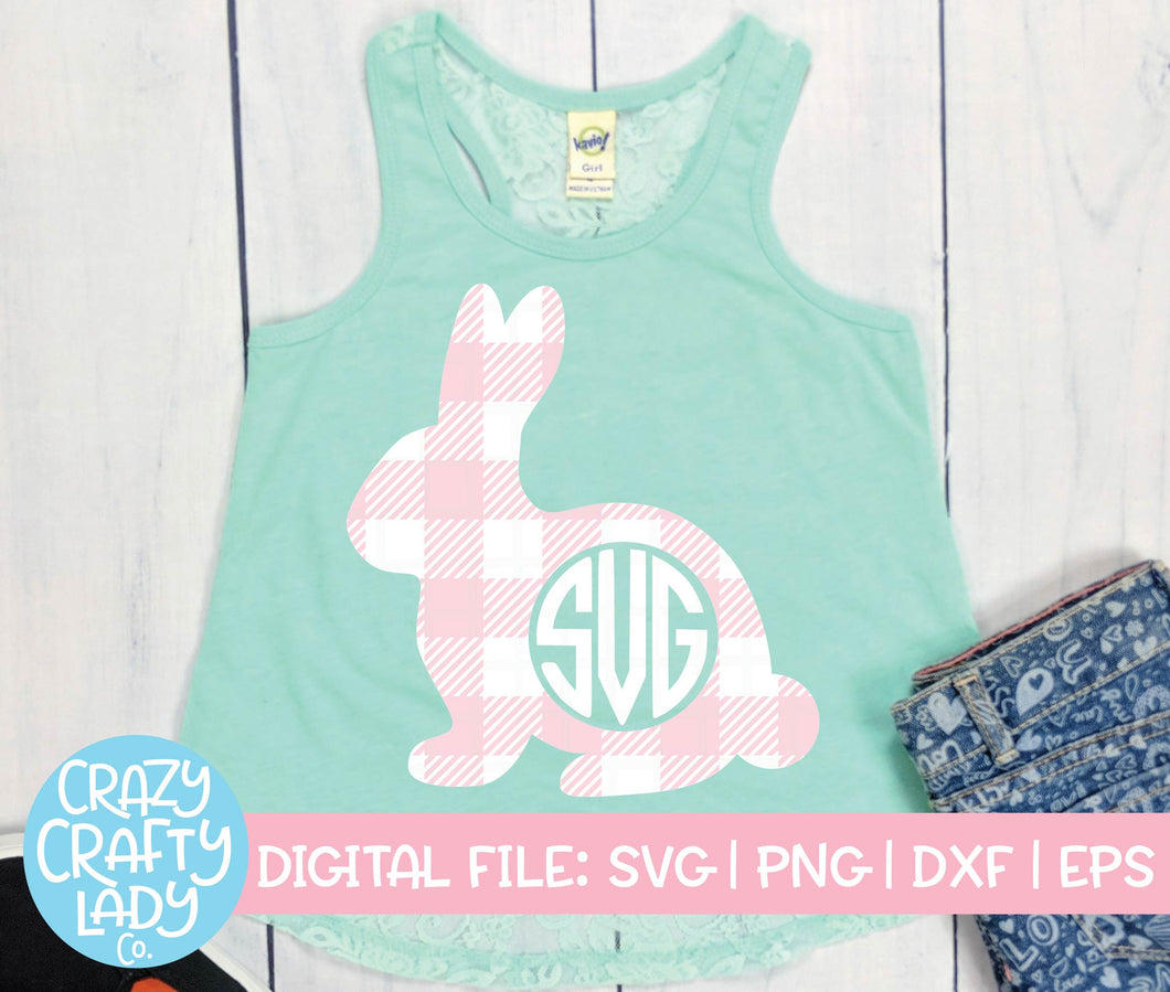 Gingham Bunny Monogram Frame SVG Cut File