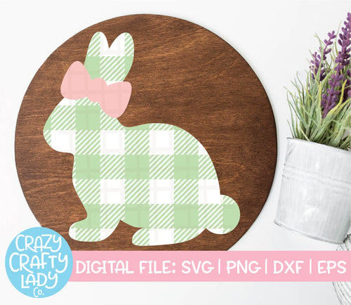 Gingham Bunny with Bow SVG Cut File