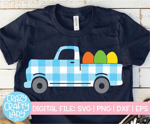 Gingham Easter Egg Truck SVG Cut File