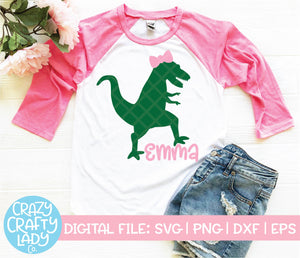 Girl's Dinosaur SVG Cut File