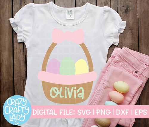 Girl Easter Basket SVG Cut File