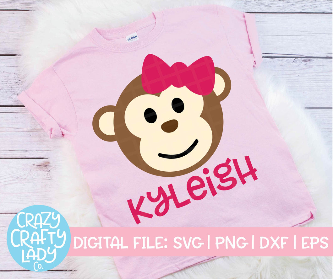 Girl Monkey SVG Cut File