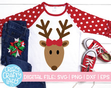 Load image into Gallery viewer, Girl Reindeer SVG Cut File