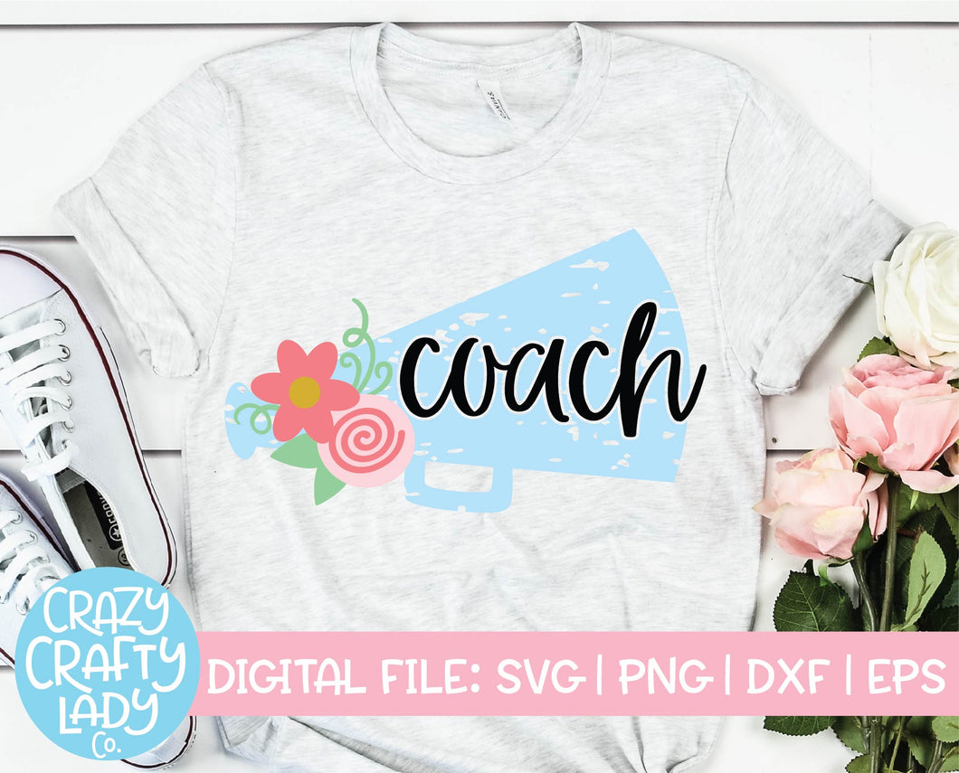 Grunge Cheer Coach SVG Cut File