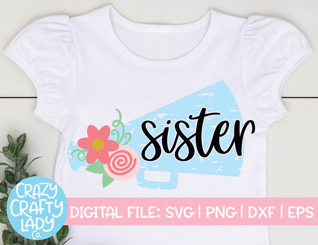 Grunge Cheer Sister SVG Cut File