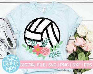 Grunge Floral Volleyball SVG Cut File