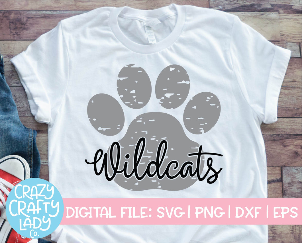 Grunge Wildcats Paw Print SVG Cut File