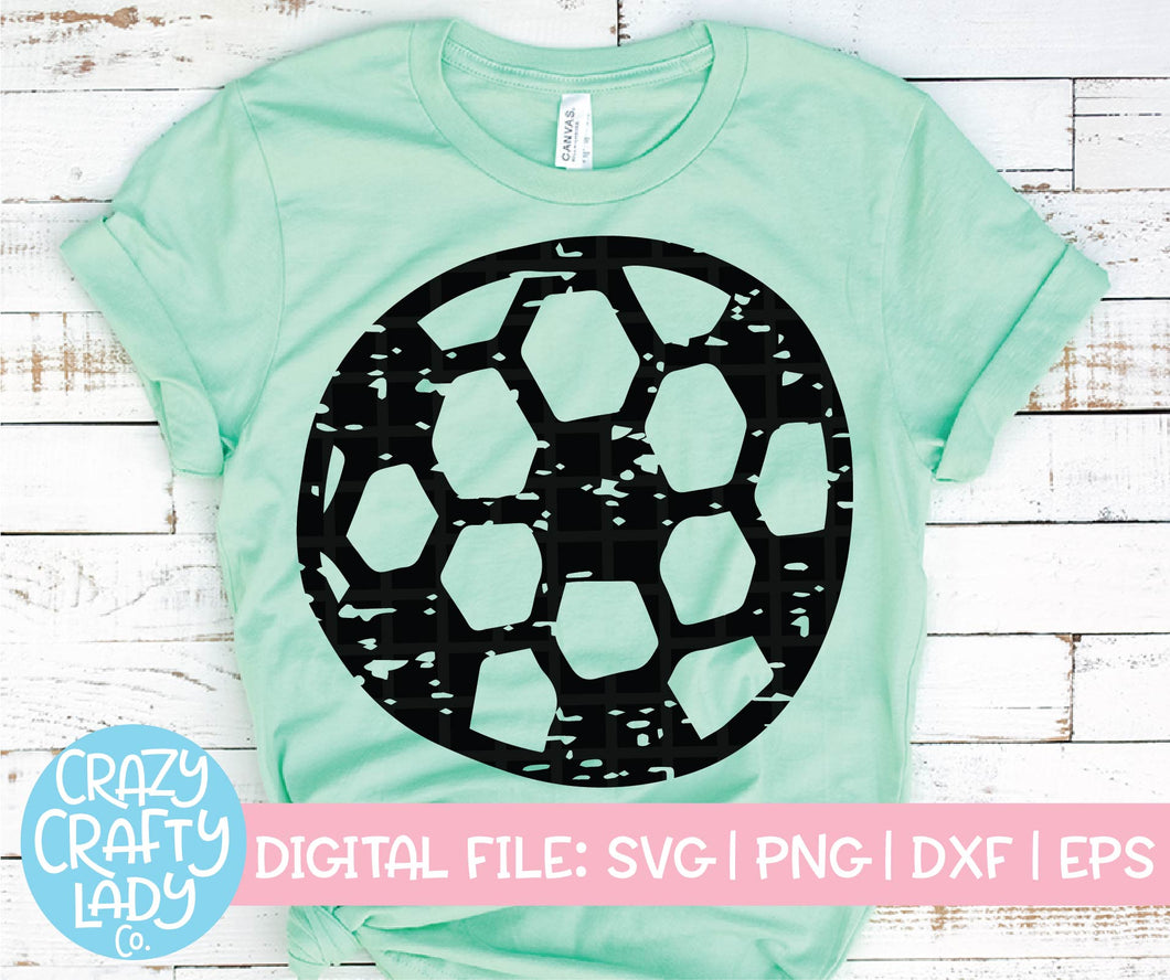 Grunge Soccer Ball SVG Cut File
