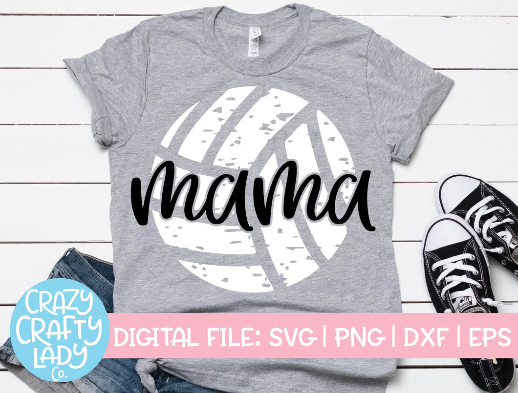 Grunge Volleyball Mama SVG Cut File