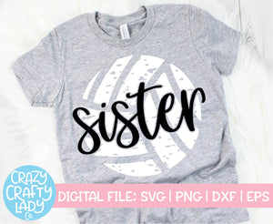 Grunge Volleyball Sister SVG Cut File