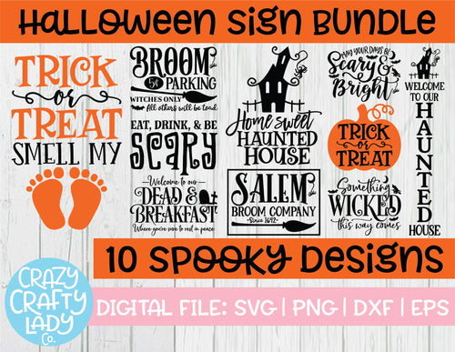 Halloween Sign SVG Cut File Bundle