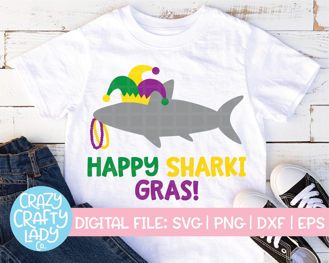 Happy Sharki Gras SVG Cut File