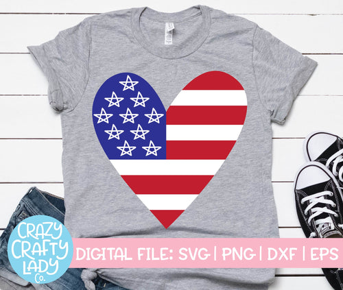 American Flag Heart SVG Cut File