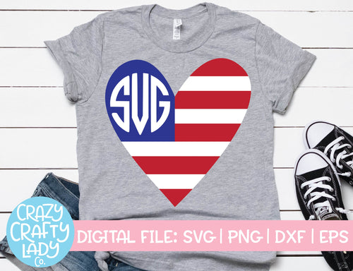American Flag Heart Monogram Frame SVG Cut File