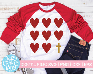 Hearts and Cross SVG Cut File