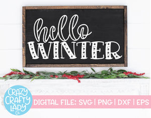 Hello Winter SVG Cut File