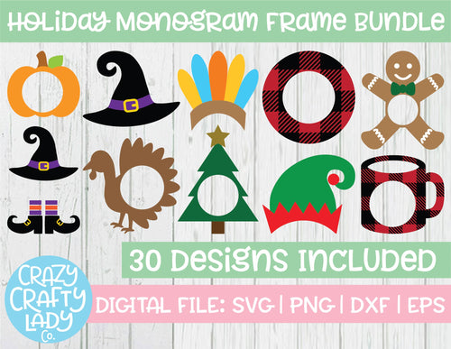 Holiday Monogram Frame SVG Cut File Bundle