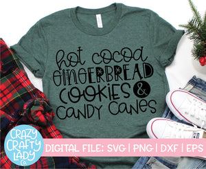 Hot Cocoa, Gingerbread, Cookies, & Candy Canes SVG Cut File