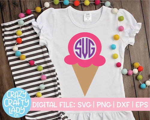 Ice Cream Monogram Frame SVG Cut File