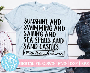 It's Beach Time SVG Cut File