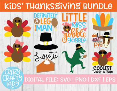 Kids' Thanksgiving SVG Cut File Bundle