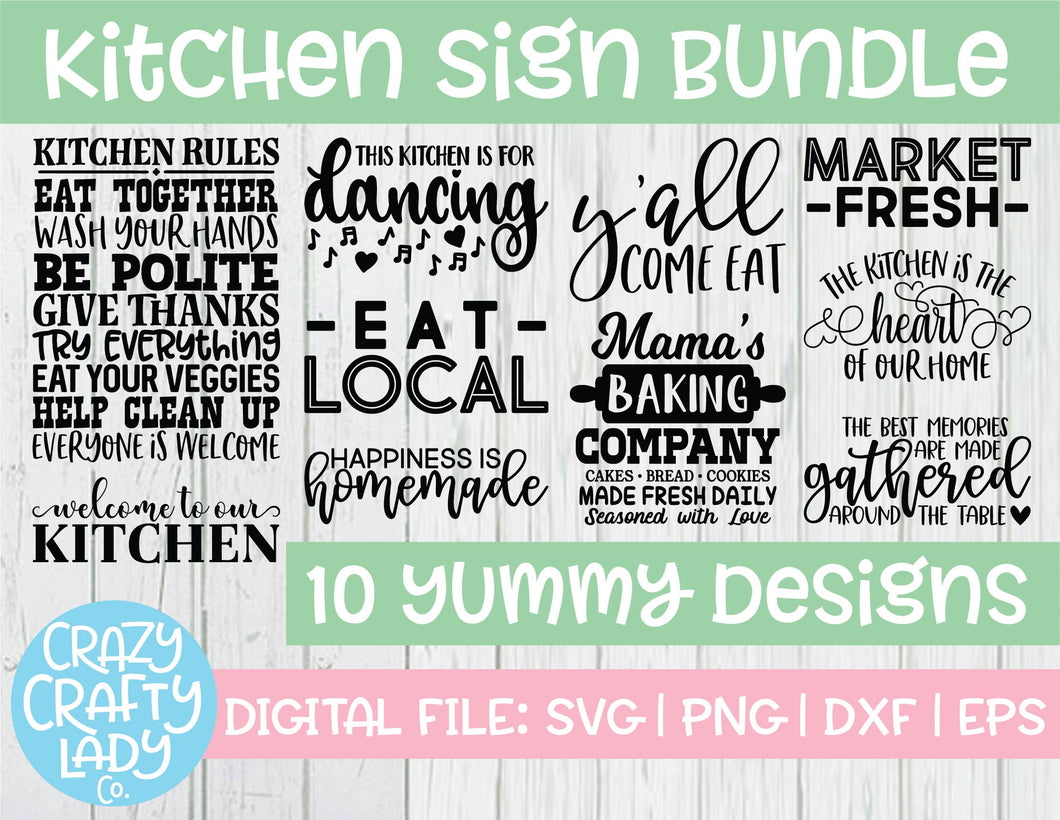 Kitchen Sign SVG Cut File Bundle